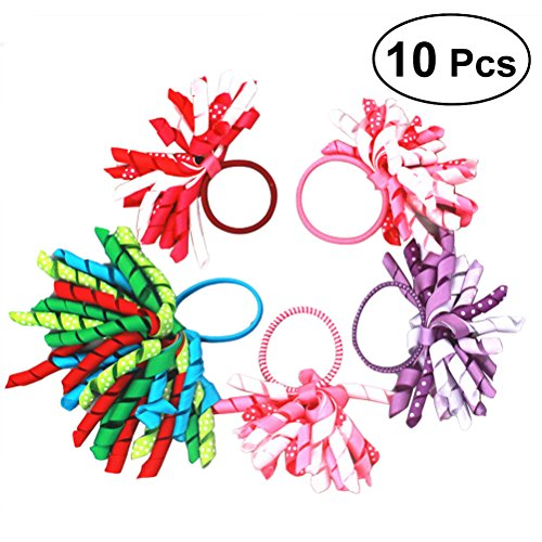 Frcolor Bow Hair Ties, Curly Korker Ribbon Hair Bow Hair Ties Boutique Grosgrain Ponytail Holder For Girl Baby Teen Kid Toddler Adult (10Pcs)