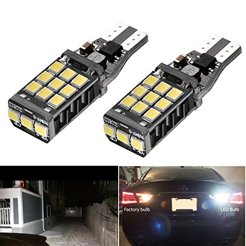 AHEVO 1100 lumens Bright Error Canbus 921 912 W16W PL Chipsets 21 SMD 2838 LED Bulbs For Backup Reverse Lights, Xenon White (Set of 2) - Order W2 Forms