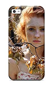 High Quality Shock Absorbing Case For Iphone 5c-autumn Fairy Branches Leafs Rust Freckles Redhead Trees People Women