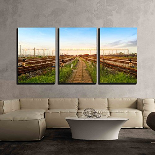 wall26 - 3 Piece Canvas Wall Art - Cargo Train Platform at Sunset with Container - Modern Home Decor Stretched and Framed Ready to Hang - 24