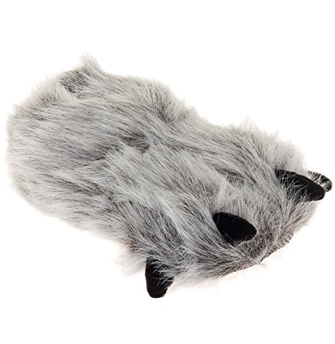 Plush Bear Paw Animal Slippers (Gray, Medium)