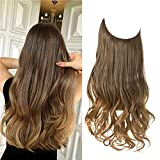 SARLA Halo Hair Extensions Long Wavy Curly Synthetic Hair Piece for Women Brown to Golden Adjustable Size Transparent Wire Headband Heat Friendly Fiber 22 Inch 5.3 Oz No Clip
