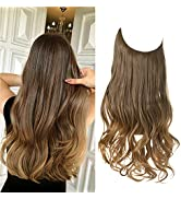 SARLA Long Halo Hair Extensions Ombre Brown to Golden Wavy Curly Synthetic Invisible Wire Hair Pi...