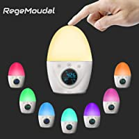 Regemoudal Wake Up Light Alarm Clock for Kid and Adult,Night Light Clock 5 Colors Mood Atmosphere Lamp with 5 Nature Sounds,3 Mode Alarms,Touch Control Function and Long Standby Time