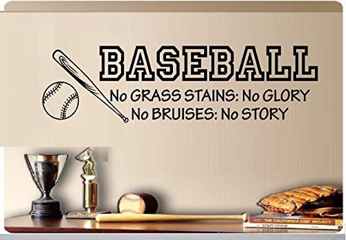Baseball Wall (Baseball No Grass Stains No Glory No Bruises No Story Baseball Bat Sports Vinyl Wall Decal Kids Room 8