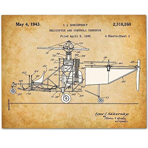 Helicopter Patent - 11x14 Unframed Patent Print - Makes a Great Gift Under $15 for Pilots