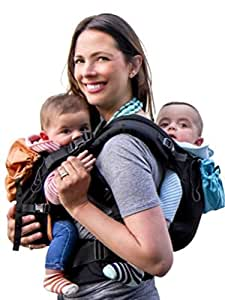 TwinGo Carrier - Lite Model - Works as Tandem or Single Carrier. Compact, Comfortable, 100% Cotton and Adjustable. For Men, Women, Twins and Children Between 10-lbs and 45 lbs. (Black, Blue, Orange)