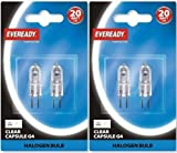 4 x Eveready G4 20W 12V Halogen Capsule Light Bulbs, Dimmable Lamps, 240 Lumen, 2000 Hours Life, Clear F