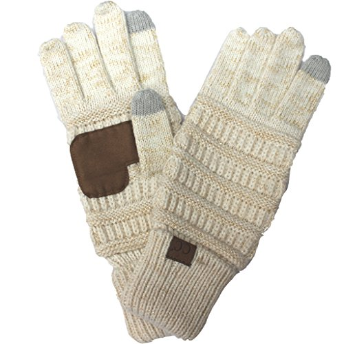 Touch Winter Warm Knit Touchscreen Texting Gloves (Metalic Ivory Gold) ()