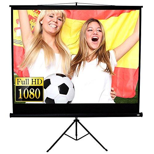 Jago Beamer Leinwand Heimkino 152 x 152 cm (Diagonale ca. 215 cm / 85 Zoll) HDTV inkl. Stativ