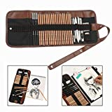 Gearmax Pro Art 18 Pieces Paper Pen Charcoal Sketch/draw Drawing and Sketching Pencil Set in Zippered Carrying Case Artist Pencil Set with Eraser Cutter Knife Pencil for Beginners, Kids or Returning Artists - Art Supplies