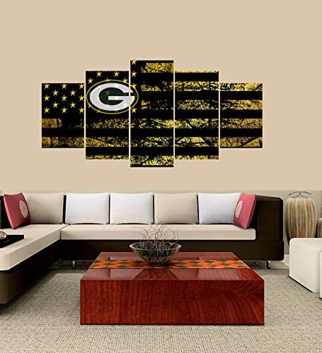 PEACOCK JEWELS Premium Quality Canvas Printed Wall Art Poster 5 Pieces / 5 Pannel Wall Decor Green Bay Packers Logo Painting, Home Decor Football Sport Pictures