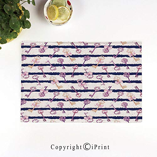 LIFEDZYLJH Machine Washable Placemats - Handcrafted with Classic Hemstitch & Mitered Corners,Old Medieval Vintage Keys with Ribbons and Diamonds Striped Pattern in French Style,Purple Blue