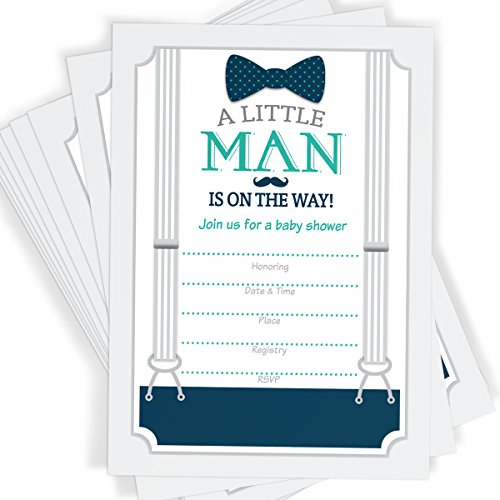 Way Baby Shower (Little Man Themed Baby Shower Invitations | Bow Tie, Mustache, and Suspenders! | 25 Invitations with Envelopes)