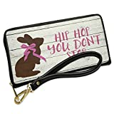 Wallet Clutch Hip Hop You Don't Stop Rustic Chocolate Bunny with Removable Wristlet Strap Neonblond