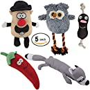 DAWGEEE Dog Toys Value 5 Pack for Puppy, Small Dogs and Medium Dogs, Squeaky Toy, Plush Toys, Rope Pet Toys, Dog Chew Toys (Playtime Pack)