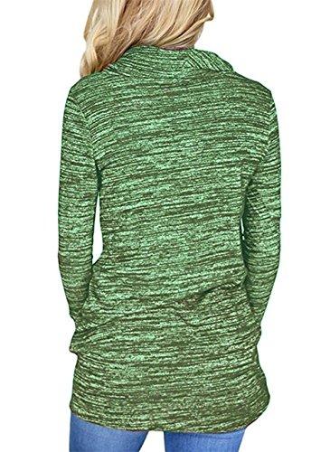 Tops Manches Pulls Blouse Femmes Shirts Tee Automne Sweat Printemps Pullover T Hauts Chemisiers Shirt et Longues Tunique Casual Legendaryman Mode Vert Clair qTfxYww