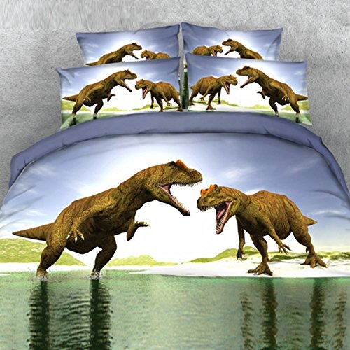 Price comparison product image Alicemall 3D Dinosaur Bedding Powerful Dinosaur Battle Blue 5-Piece Comforter Sets Unique 3D Dinosaur Quilt Bedding for Kids and Adults, Queen Size (Queen, Blue)