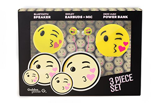 Kissy Face Emoticon (GabbaGoods 3 Piece Kissy Face Emoticon Kids Electronics Combo Gift Set- Gabba Goods Bluetooth Wireless Audio Sound Speaker, In-Ear Emoji EarBuds with Mic, and a 2600 mAh Portable Charging Power)