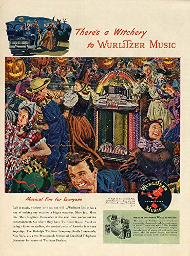 There's a Witchery at Wurlitzer Jukebox Music ad 1947 Halloween party L -