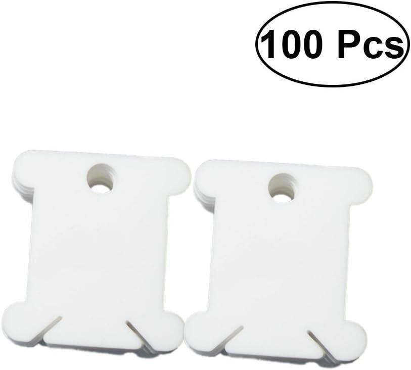 Healifty 100 unids Hilo de Bordar de Bobina de Hilo de Plástico Tarjetas de Punto de Cruz Bobinado Organizador de Hilo de Coser DIY de Costura de Almacenamiento (Blanco)