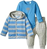 Petit Lem Baby Boys' Moon and Cloud 3 Pieces Set Cardigan, Diaper Shirt and Pants Knit, Blue, 6 Months