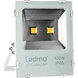 LEDMO 100W LED Flood Light Outdoor, New Craft 500W Equivalent Waterproof IP65 85-265v Instant On UL and DLC 8000Lm, 3000K, Outdoor Floodlight for Garage, Garden, Lawn and Yard