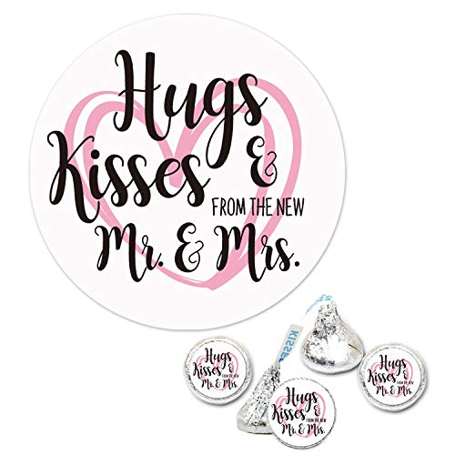 300 Chocolate Drop Labels Stickers-Hugs Kisses from The New Mr. & Mrs. Hershey Kiss Wedding Stickers for Weddings, Bridal Shower Engagement Party, Hershey's Kisses Party Favors Decor.