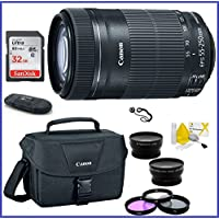 Canon EF-S 55-250mm f/4-5.6 IS STM Lens (USA Warranty) Bundle; Includes: 32GB SDHC Mmeory Card + Canon EOS Shoulder Bag 100ES + 58mm Telephoto & Wide Angle Lenses + more...