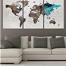 Amazon huge world map global hd canvas print retro giant extra large wall art push pin world map canvas print watercolor map poster gumiabroncs Choice Image