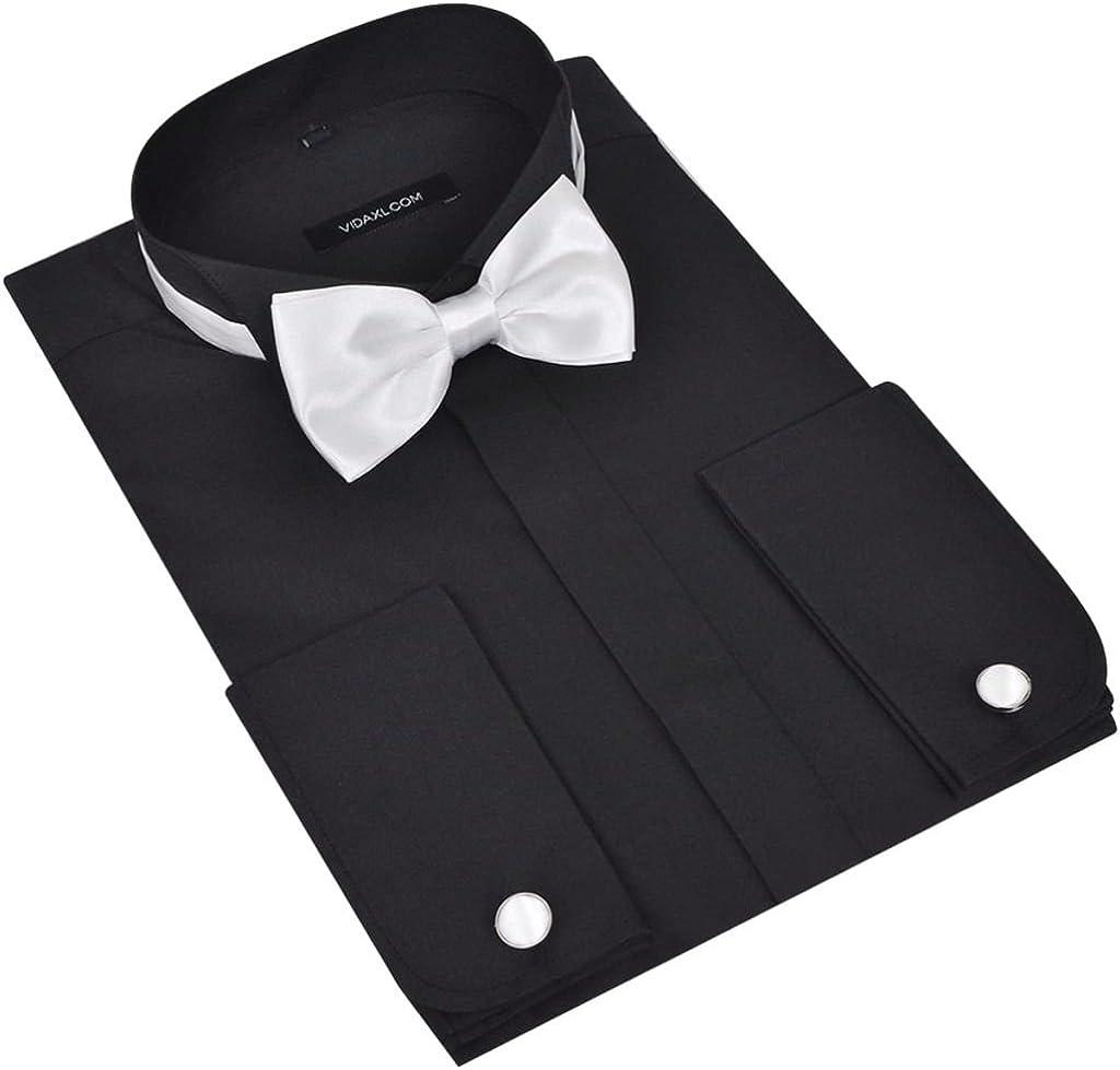 vidaXL Camisa De Esmoquin para Hombre con Gemelos Y Pajarita, Talla S, Negro: Amazon.es: Ropa y accesorios
