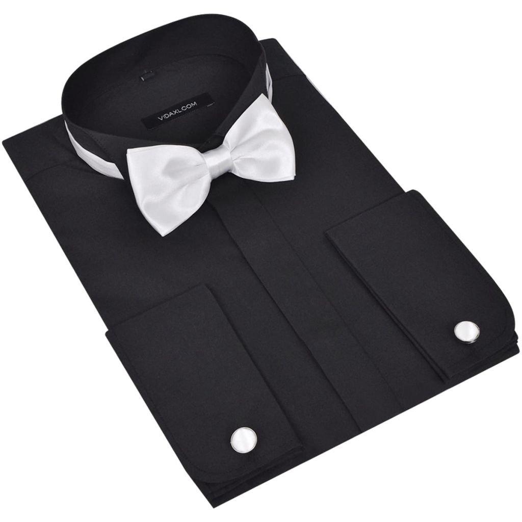 Camicia Smoking Uomo Elegante Bottoni Papillon Misure Diverse Nero/Bianco vidaXL