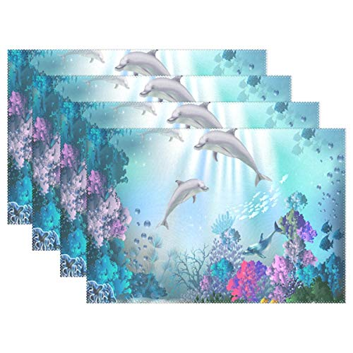 NMCEO Place Mats The Underwater World with Dolphins Personalized Table Mats for Kitchen Dinner Table Washable PVC Non-Slip Insulation 1 Piece