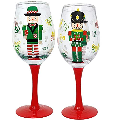 Festive Wine Glasses (Set of 2)- 14 oz Hand Painted Holiday Wine Glasses- Nutcracker Design for Gift Entertaining