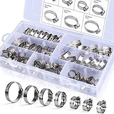 Hose Clamps, Senignol 60 Pieces Stainless Steel Adjustable 8-38mm Range Worm Gear Hose Clamp Assortment Kit, Fuel Line Clamp for Plumbing, Automotive and Mechanical Applications