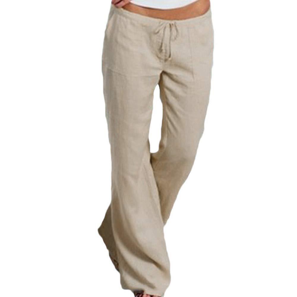 Farjing Pants Clearance Sale Women Ladies Pocket Elastic Band Trousers Long Pants Baggy Wide Leg Pants(M,Khaki