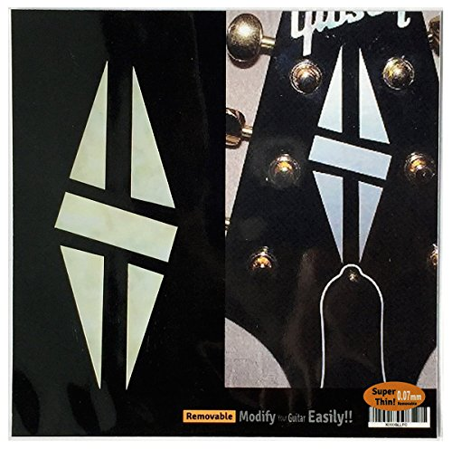 Inlay Sticker Decal Guitar Headstock In MOP Theme - 2pcs SET LP Diamond Hatch WP (Decal Headstock Guitar)