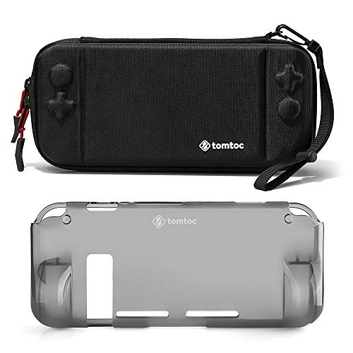 [Combo Set] tomtoc Original Hard Shell Case with Grip Back Cover for Nintendo Switch Console, Travel Carrying Protection Case with 10 Game Card Slots, Black