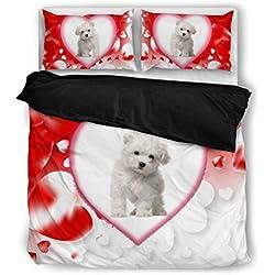 Maltese Dog Print Bedding Set Dog Lovers Gifts - Custom Cover Print Design Pillow Cases & Duvet Blanket Cover - Pet Gift Ideas