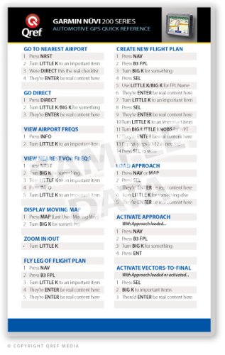 Download Garmin Nuvi 200 Series Qref Card Checklist (Qref GPS Quick Reference) ebook