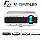 EUG HD Home Wireless Video Projector with Android WiFi 3900 Lumen HDMI Digital Wxga LCD LED Proyector Support 1080P Airplay Youtube-TV KODI for iPhone Mac DVD Player Wii Xbox Outdoor Entertainments