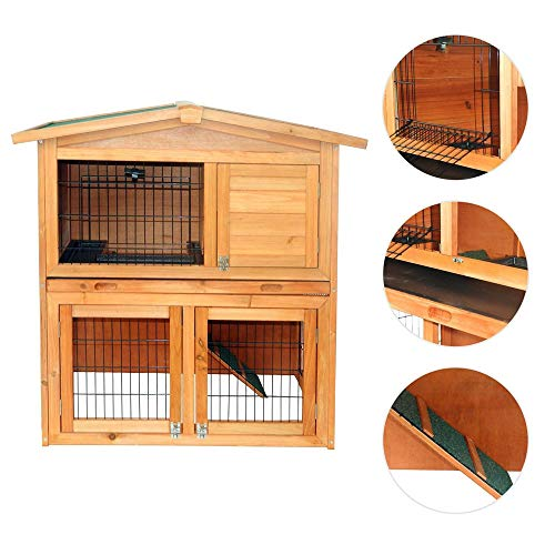 FDXDZSW 40″ Triangle Roof Waterproof Wooden Rabbit Hutch A-Frame Pet Cage Wood Small House Chicken Coop Natu. Easy to Assemble and Portable