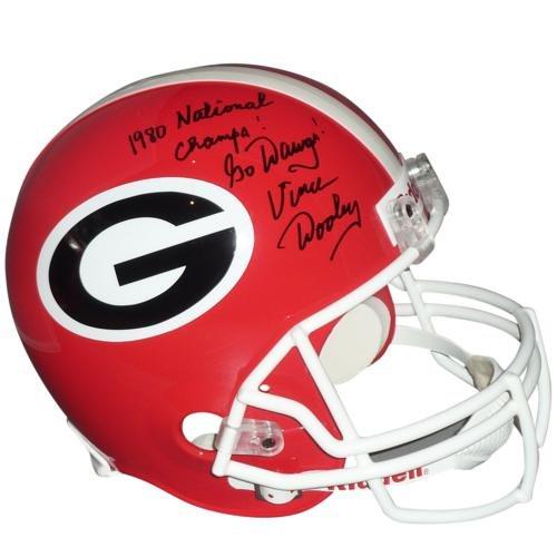 Vince Dooley Autographed Georgia Bulldogs Deluxe Full-Size Replica Helmet w/