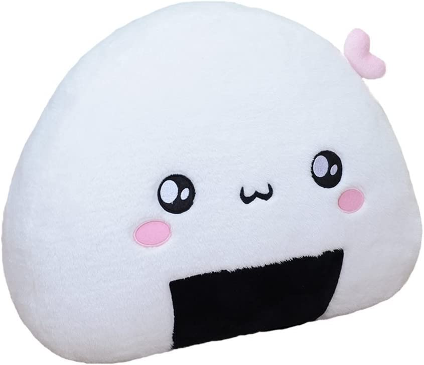 Stuffed Short Plush Onigiri Sushi Girls Birthday Gift Japanese Expression Food Neck Pillow Cushions Nap Doll Home Essential (14.17 inch, Pink Lovely)