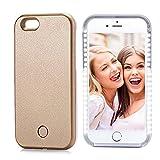 iPhone 6/6S Plus LED Selfie Light Supplementary Lighting Case,USB Rechargeable LED Light Up Flash Lighting Selfie Case [Dimmable Switch] Night Selfie Enhancing for Apple iPhone 6/6S Plus (iPhone 6/6S Plus, Gold)