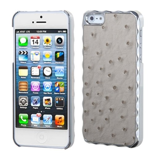 MYBAT IPHONE5HPCBKLE220WP Premium Executive Case for iPhone 5 / iPhone 5S - 1 Pack - Retail Packaging - Gray Silver Plating Ostrich Leather Alloy