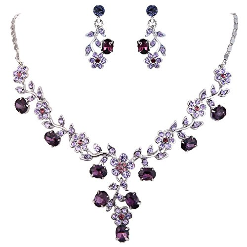 EVER FAITH Flower Leaf Necklace Earrings Set Austrian Crystal Silver-Tone - (Victorian Jewelry)
