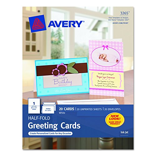Print your own greeting cards amazon avery half fold greeting cards for inkjet printers 55 inches x 85 inches white matte pack of 20 03265 m4hsunfo