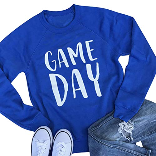 Nlife Women Game Day Letter Print Shirt Crew Neck Long Sleeve Casual Style Solid Sweatshirt Tops Blouse by Nlife (Image #1)