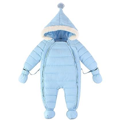 Bambino Tute da neve Guanti Scarpe Neonato Pagliaccetti con Cappuccio  Inverno Body con Cerniera 0- 57bb9cc9be57